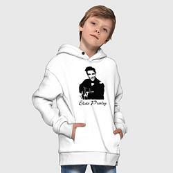 Детская хлопковая толстовка оверсайз с принтом Elvis Presley, цвет: белый, артикул: 10010967206093 — фото 2