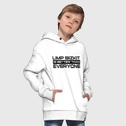 Толстовка оверсайз детская Limp Bizkit: Everyone цвета белый — фото 2
