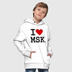Толстовка оверсайз детская I love MSK цвета белый — фото 2