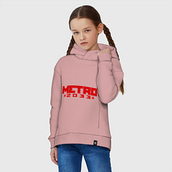 Толстовка оверсайз детская Metro 2033 цвета пыльно-розовый — фото 2
