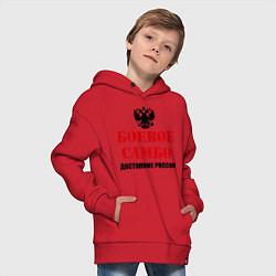 Толстовка оверсайз детская Боевое самбо России цвета красный — фото 2