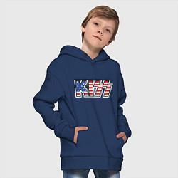 Толстовка оверсайз детская KIss USA цвета тёмно-синий — фото 2