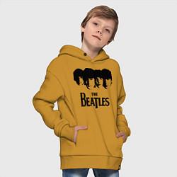 Толстовка оверсайз детская The Beatles: Faces цвета горчичный — фото 2