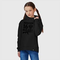 Толстовка оверсайз детская Region 16 Rulezz цвета черный — фото 2