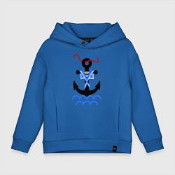 Толстовка оверсайз детская Морской якорь цвета синий — фото 1