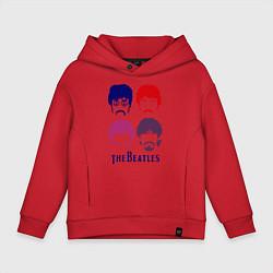 Толстовка оверсайз детская The Beatles faces цвета красный — фото 1