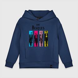 Толстовка оверсайз детская Walking Beatles цвета тёмно-синий — фото 1