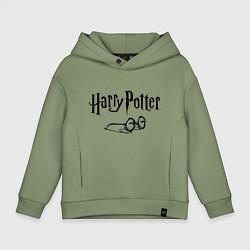 Толстовка оверсайз детская Гарри Поттер цвета авокадо — фото 1