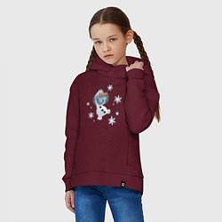 Толстовка оверсайз детская Веселый Олаф цвета меланж-бордовый — фото 2