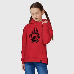 Толстовка оверсайз детская Волчий след цвета красный — фото 2