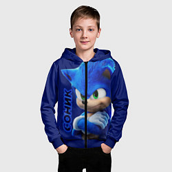 Толстовка на молнии детская SONIC цвета 3D-синий — фото 2