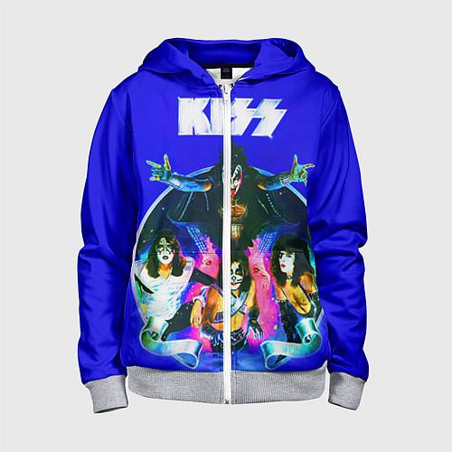 Детская толстовка на молнии Kiss Show / 3D-Меланж – фото 1