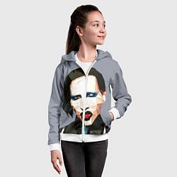 Толстовка на молнии детская Mаrilyn Manson Art цвета 3D-белый — фото 2