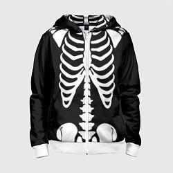 Толстовка на молнии детская Скелет цвета 3D-белый — фото 1
