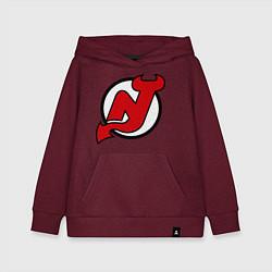 Толстовка детская хлопковая New Jersey Devils цвета меланж-бордовый — фото 1