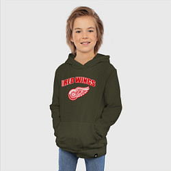 Толстовка детская хлопковая Detroit Red Wings цвета хаки — фото 2