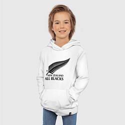 Толстовка детская хлопковая New Zeland: All blacks цвета белый — фото 2