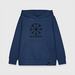 Толстовка детская хлопковая Bjork Rune цвета тёмно-синий — фото 1