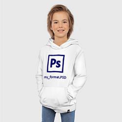 Толстовка детская хлопковая Photoshop цвета белый — фото 2