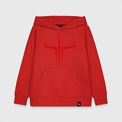 Толстовка детская хлопковая Quake logo цвета красный — фото 1