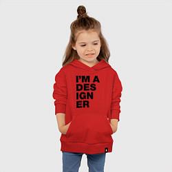 Толстовка детская хлопковая I am a designer цвета красный — фото 2