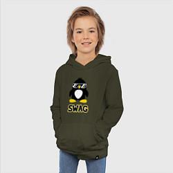 Толстовка детская хлопковая SWAG Penguin цвета хаки — фото 2