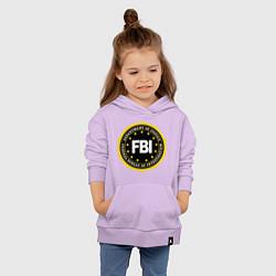 Толстовка детская хлопковая FBI Departament цвета лаванда — фото 2