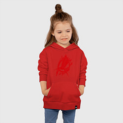 Толстовка детская хлопковая Пламенная птица цвета красный — фото 2