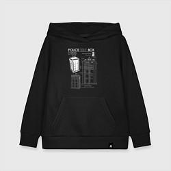 Толстовка детская хлопковая Доктор Кто, ТАРДИС цвета черный — фото 1