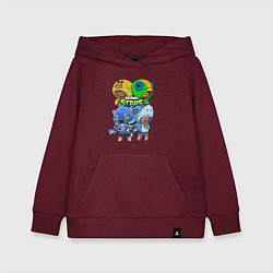 Толстовка детская хлопковая Brawl Stars Leon Quattro цвета меланж-бордовый — фото 1