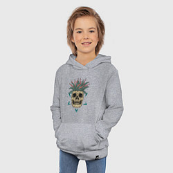 Толстовка детская хлопковая Череп Моргенштерна цвета меланж — фото 2