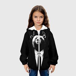 Детская 3D-куртка с капюшоном с принтом Медведь бизнесмен, цвет: 3D-белый, артикул: 10113467305458 — фото 2