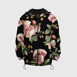 Детская 3D-куртка с капюшоном с принтом TOP Roses, цвет: 3D-черный, артикул: 10113735205458 — фото 1