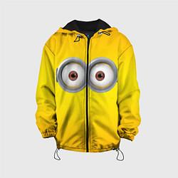 Детская 3D-куртка с капюшоном с принтом Глаза Миньона, цвет: 3D-черный, артикул: 10131815005458 — фото 1