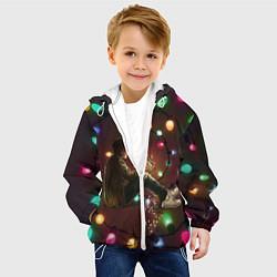 Детская 3D-куртка с капюшоном с принтом Парень с лампочками, цвет: 3D-белый, артикул: 10135899305458 — фото 2