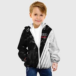Детская 3D-куртка с капюшоном с принтом Audi: Black Poly, цвет: 3D-белый, артикул: 10146395705458 — фото 2