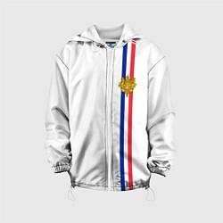 Куртка с капюшоном детская Франция: лента с гербом цвета 3D-белый — фото 1