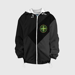 Детская 3D-куртка с капюшоном с принтом Stone Island: Black Geometry, цвет: 3D-белый, артикул: 10166647905458 — фото 1