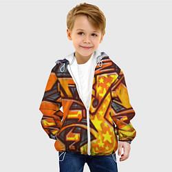 Детская 3D-куртка с капюшоном с принтом Orange Graffiti, цвет: 3D-белый, артикул: 10173633505458 — фото 2