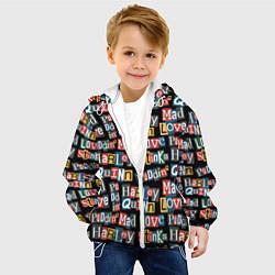 Детская 3D-куртка с капюшоном с принтом Mad Love, цвет: 3D-белый, артикул: 10194801905458 — фото 2