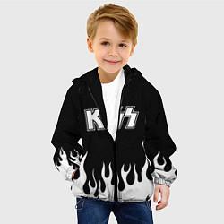 Детская 3D-куртка с капюшоном с принтом Kiss, цвет: 3D-черный, артикул: 10199652305458 — фото 2