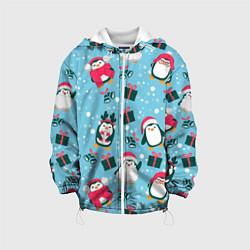Детская 3D-куртка с капюшоном с принтом Новогодние Пингвины, цвет: 3D-белый, артикул: 10277182705458 — фото 1