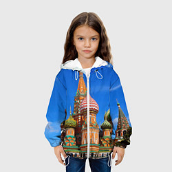 Куртка с капюшоном детская Храм Василия Блаженного цвета 3D-белый — фото 2