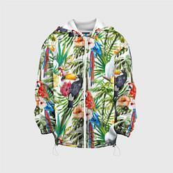 Куртка с капюшоном детская Попугаи в тропиках цвета 3D-белый — фото 1