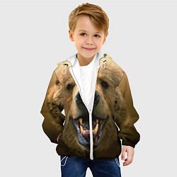 Детская 3D-куртка с капюшоном с принтом Взгляд медведя, цвет: 3D-белый, артикул: 10069240105458 — фото 2
