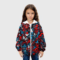 Детская 3D-куртка с капюшоном с принтом Стикербомбинг, цвет: 3D-белый, артикул: 10071235405458 — фото 2