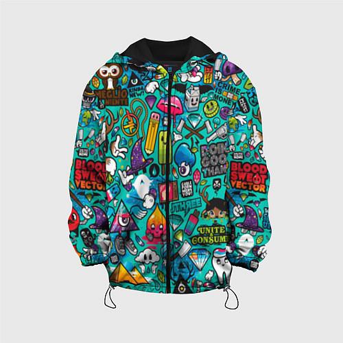 Детская куртка Стикербомбинг / 3D-Черный – фото 1