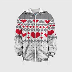 Детская 3D-куртка с капюшоном с принтом Узор с сердечками, цвет: 3D-белый, артикул: 10077706405458 — фото 1