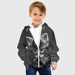 Куртка с капюшоном детская Голубоглазый котенок цвета 3D-белый — фото 2