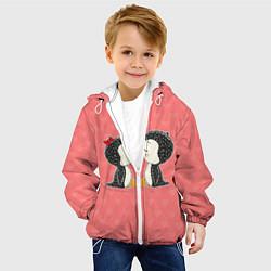Детская 3D-куртка с капюшоном с принтом Влюбленные пингвины, цвет: 3D-белый, артикул: 10081995505458 — фото 2